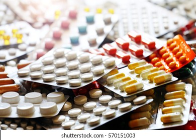 Pharmaceutical medication and medicine pills in packs