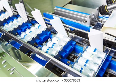 pharmaceutical packing production line conveyor at manufacture pharmacy factory