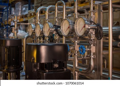 Pharmaceutical technology equipment facility for water preparation, cleaning and treatment at pharmacy plant.