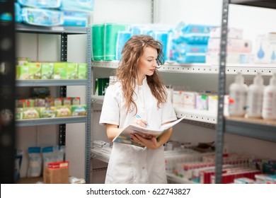 Pharmacist in the storage facility making an inspection. Healthcare business