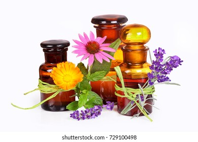 Pharmacist's bottles with alternative medicine