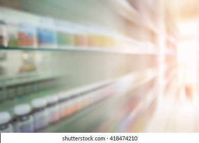 Pharmacy blurred and motion with store drugs shelves interior background, Concept of pharmacist and chemist, middle east or transcontinental region centered on western asia.