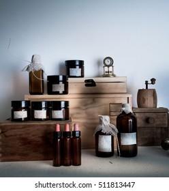 pharmacy. bottles, jars clock on wooden shelves
