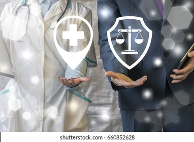 Pharmacy compliance. Medicine Pharmaceutical regulations. Pharmacist offers symbol medical cross with map marker, businessman represent shield scales icon. Healthcare Laws, Rules, Rights.