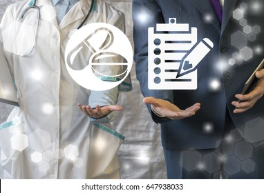 Pharmacy compliance. Pharmaceutical regulations. Pharmacist offers pill ( drug ), businessman represent clipboard (checklist) with pencil icon on virtual screen. Health care business rules.