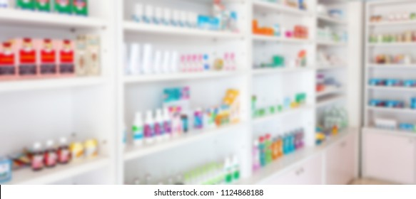 Pharmacy drugstore blur abstract backbround with medicine and healthcare product on shelves