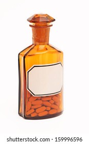 Pharmacy, glass bottle and the pills, Medicine