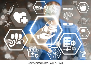 Pharmacy, medicine and healthcare concept - doctor presses icon hand hold capsule pill on virtual screen. Health care pharmaceutical service. Drug sign. Online IT pharma medical treatment technology.
