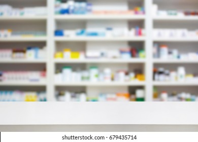 pharmacy store background with white table counter