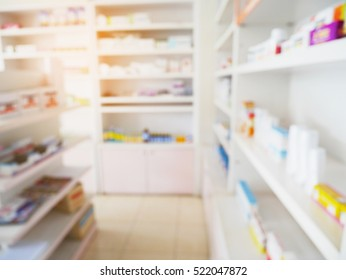 pharmacy store with blur shelves filled with medication