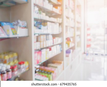 pharmacy store interior with medicine, vitamin, food supplement and healthcare over the counter product on medical shelves blur drugstore for background