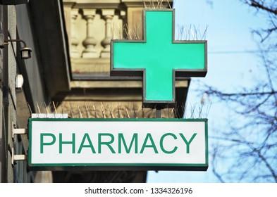 Pharmacy street sign
