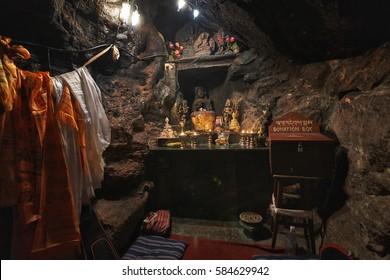 PHARPING/NEPAL - NOVEMBER 13, 2016: Guru Rimpoche cave interior in Pharping, Nepal
