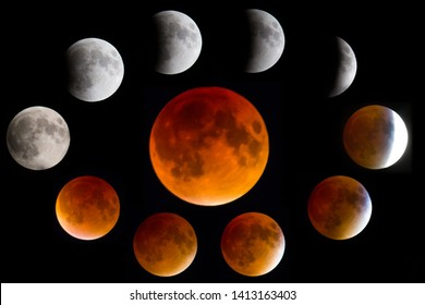 Phases of a Blood Moon Lunar Eclipse