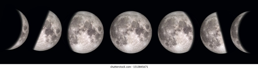 Phases of the Moon.  Elements of this image furnished by NASA