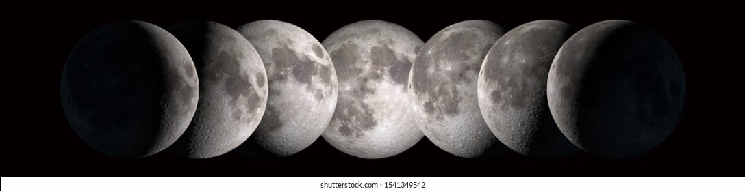 The Phases of the Moon. Half and full moon, crescent, new moon, bulging moon, 1st Quarter, 3re Quarter.
