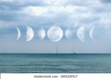 Phases of the Moon with the nice seascape : Waxing Crescent, Waxing Gibbous, Waning Gibbous, and Waning Crescent. The pictures taken from own camera.