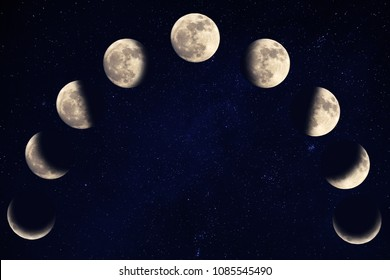 Phases of the moon over blue sky