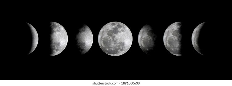Phases of the Moon : Waxing Crescent, Waxing Gibbous, Waning Gibbous, and Waning Crescent.