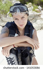 Phashion lifestyle portrait young woman in underwater equipment at the outdoor