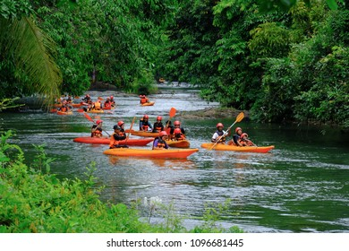PHATTHALUNG , THAILAND - APRIL 29 2018 : Travelers are rafting a colorful canoe during the weekend in PAPAYOM City, Phatthalung Province, Thailand.