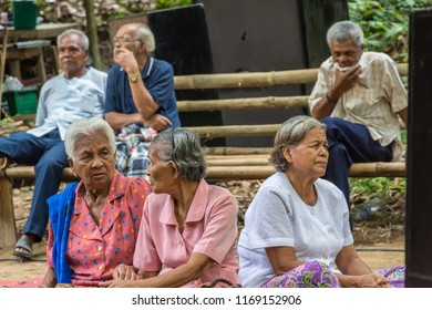 PHATTHALUNG, THAILAND - April 8, 2018 : Old people are relax at Klong Ban Kham, canal in the forest at Srinagarindra District, Phatthalung.