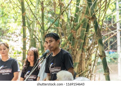 PHATTHALUNG, THAILAND - April 8, 2018 : Master of Ceremonies speaking into the microphone at Klong Ban Kham, canal in the forest at Srinagarindra District, Phatthalung.