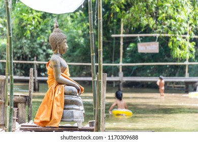 PHATTHALUNG, THAILAND - April 8, 2018 : The buddha sculpture for showering in Songkran festival at Klong Ban Kham in the forest at Srinagarindra District, Phatthalung.