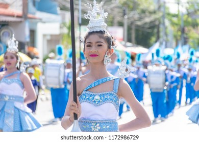 Phatthalung, Thailand - August 5, 2018 : Pretty drum majors of Rewadee Phatthalung school with bluesky themed at a Phatthalung Sport Day Parade 2018.