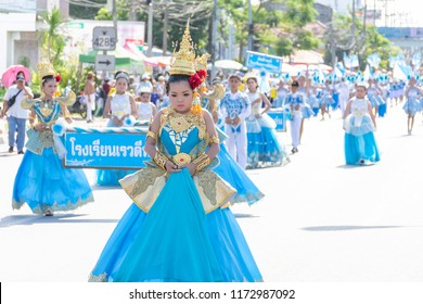 Phatthalung, Thailand - August 5, 2018 : Rewadee Phatthalung school students with bluesky themed at a Phatthalung Sport Day Parade 2018.