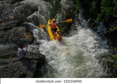 PHATTHALUNG , THAILAND - FEB 23 2019 : Travelers are rafting a colorful canoe during the weekend in PAPAYOM City, Phatthalung Province, Thailand.
