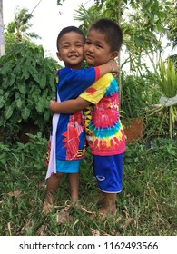 PHATTHALUNG, THAILAND- JUL 28:  On July 28, 2018 Cute Thai kids, smiling and happy in Phatthalung province, Thailand.