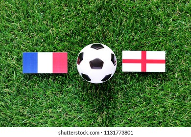 Phatthalung, Thailand - JULE, 11, 2018: flag France VS England big match FIFA World Cup Russia 2018 On the lawn Green grass