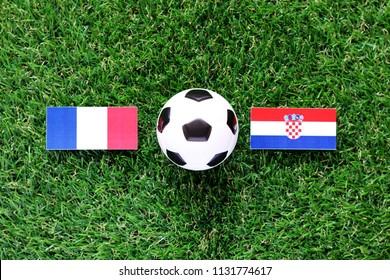 Phatthalung, Thailand - JULE, 11, 2018: flag France VS Croatian big match FIFA World Cup Russia 2018 On the lawn Green grass