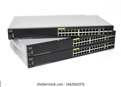 Phatthalung , THAILAND - JULY 20 2019 : Cisco SG350-28P , Ethernet Switch 28 Port Gigabit PoE Management Switch. isolated on white background