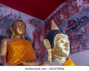 """PHATTHALUNG, THAILAND - July 28, 2018:  Buddha Thailand. Located.""""Wat Wang"""" Phatthalung Province, South of Thailand."""