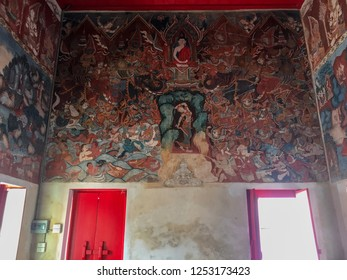 PHATTHALUNG, THAILAND - July 28, 2018:  Ancient Buddhist temple mural painting of the life of Buddha inside of Wat Wang in Phatthalung province ,Thailand