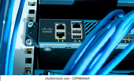 Phatthalung , THAILAND - MAY 17 2019 : Close up Cisco 5500 Wireless Controller, Cisco logo and management port, RJ45, USB in network data center room
