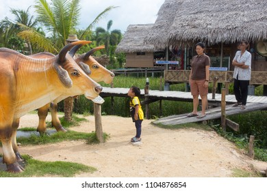 Phatthalung, Thailand - May 19, 2018: Cow statue at NaPoKae Rice and farmers learning center Tourist attraction located in Phatthalung , Thailand.