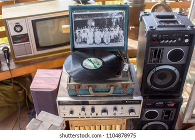 Phatthalung, Thailand - May 19, 2018: Classic vintage vineal with photo frame and old television at NaPoKae Rice and farmers learning center Tourist attraction.