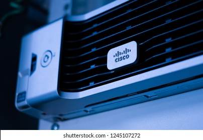 Phatthalung , THAILAND - NOV 29 2018 : Close up Cisco logo on UCS C240 M4 , Unified Computing Servers in data center room.