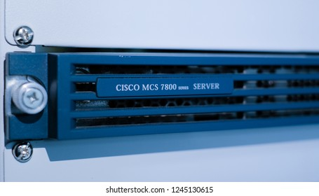 Phatthalung , THAILAND - NOV 29 2018 : Close up Cisco logo on MCS 7800 Server , Media Convergence Servers in data center room.