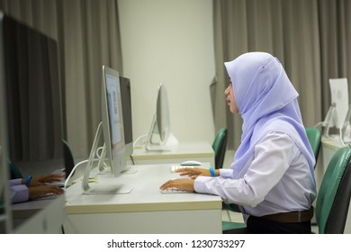 PHATTHALUNG, THAILAND - November 15, 2018: Studen in iMac computers lab classroom
