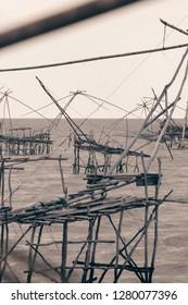 Phatthalung, Thialand - December 14 2018: Square Dip Fishing Nets Fishing Village Phatthalung