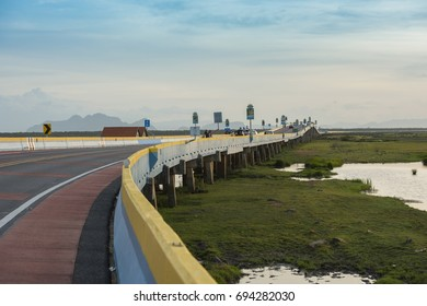 PHATTHALUNG,THAILAND : JULY 30 2017 - Tourists on Thale Noi bridge,new travel place in Phatthalung,Thailand on 30July 2017