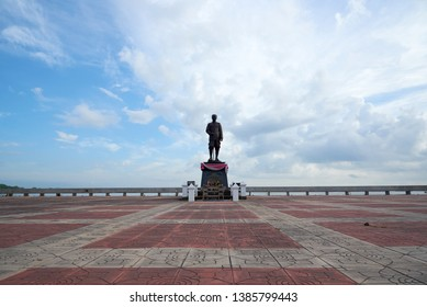 Phatthalung/Thailand-April 8, 2019: King Rama V of Thailand statue at Saen Suk Lampam beach, Phatthalung on blue sky background