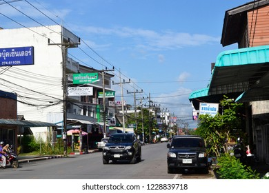 Phatthalung/Thailnd 11/08/2018   old building and blue sky Phatthalung town in Thailand