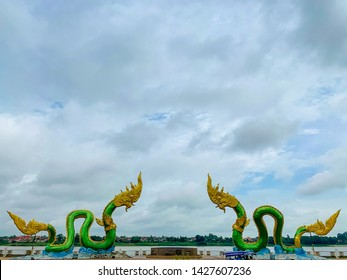 Phayanak or Naga king of snake Statue at the mekong river in the town of Nong Khai Province in Isan area on north east region of Thailand. Phayanak is symbol signature of Nong Khai province.