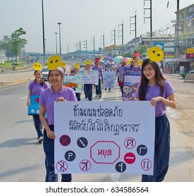 PHAYAO, THAILAND - 4 May 2017. Student carry placards and demonstrate for driving car awareness.