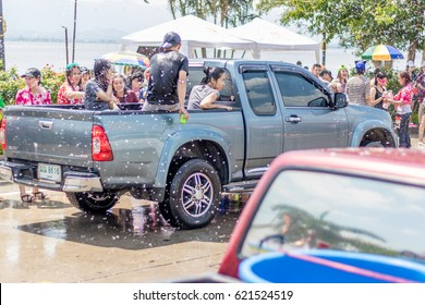 Phayao Thailand- APRIL 13: Songkran Festival is celebrated in Thailand as the traditional New Year's Day from 13 to 15 April by throwing water at each other, on 13-15 April 2016 in Phayao